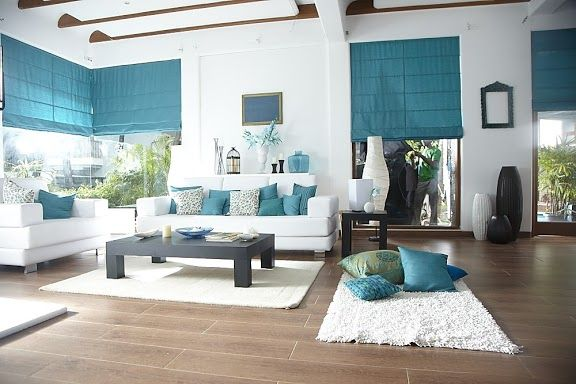 Aqua white for White and aqua living room