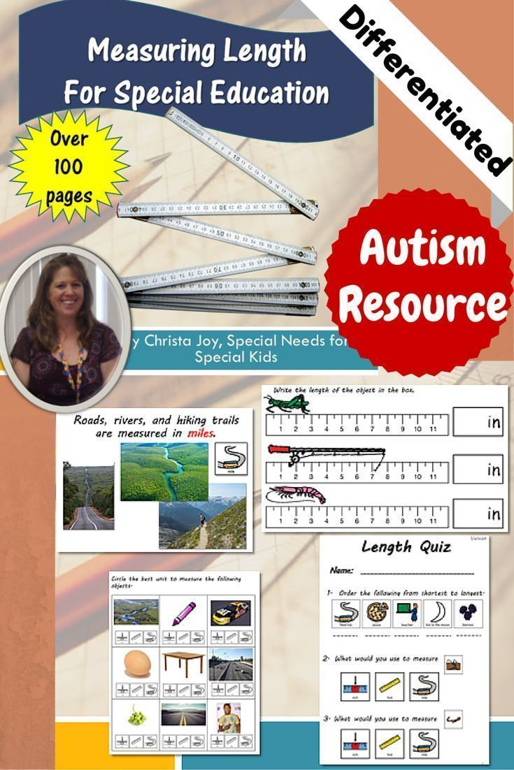 This differentiated unit addresses the concept of measuring the length of things. It first explores the appropriate unit of measure (inches, feet, or miles) and then introduces the concept of using a ruler. It is specifically designed for students with autism and other special learning needs.  Includes books, worksheets, assessments and more.
