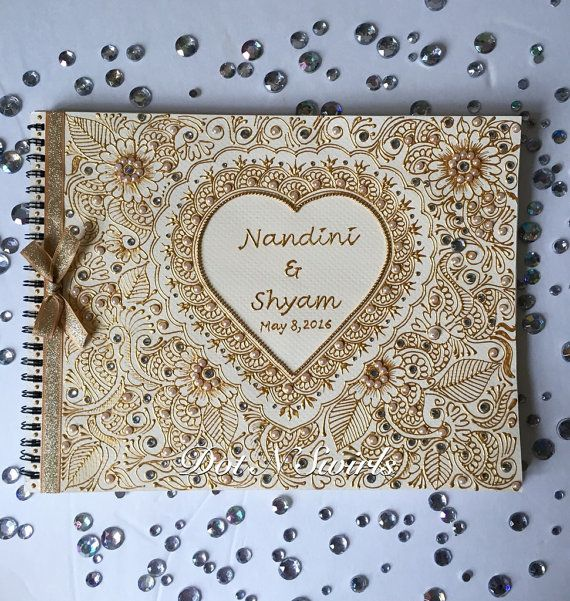 Personalized wedding guest book/ guest book/indian by dotnswirls