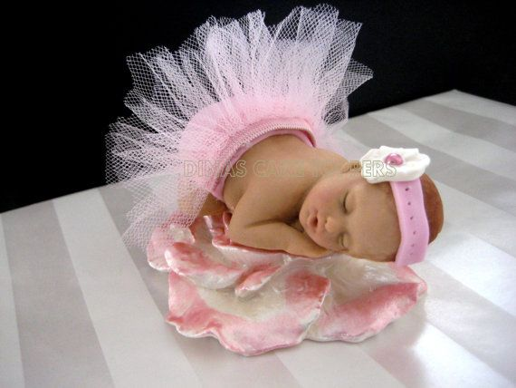 Tutu Baby Cake Topper Baby Shower 1st Birthday Princess Pink Tulle- Larger baby on Etsy, $45.00
