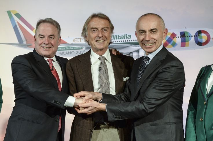 James Hogan (PCEO #Etihad Airways and V. President Alitalia), Luca Montezemolo (Chairman Alitalia), Silvano Cassano (CEO Alitalia) during press conference in Rome, Jan 20th