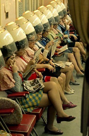 1960's Hair Salon - my mother had a hair dryer like this at home and I'd sit under it to dry my hair would live to hang photos like this ;)