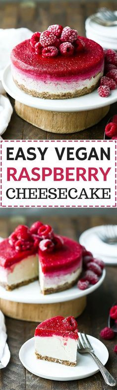 Easy Vegan Raspberry Cheesecake. #paleo #GF #desserts