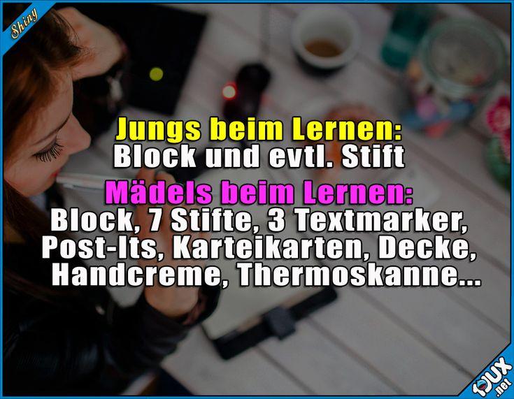 Typisch Mädels ^^  Lustige Sprüche und Bilder #Humor #lernen #Mädels #Jungs #Studium #Studentenleben #Studentlife #Studium #lustig #Sprüche #lustigeBilder #lustigeMemes