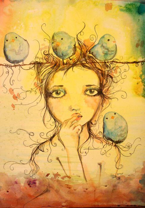 Gabi Fventes - from the de paseo series: Ride, Watercolor Art, Gabi Fvent, Birds Art, Blue, Art Inspiration, Canvas, Birds Girls, Art Journals Portraits