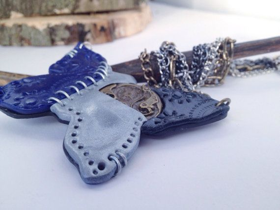 Steampunk statement necklace blue and silver butterfly