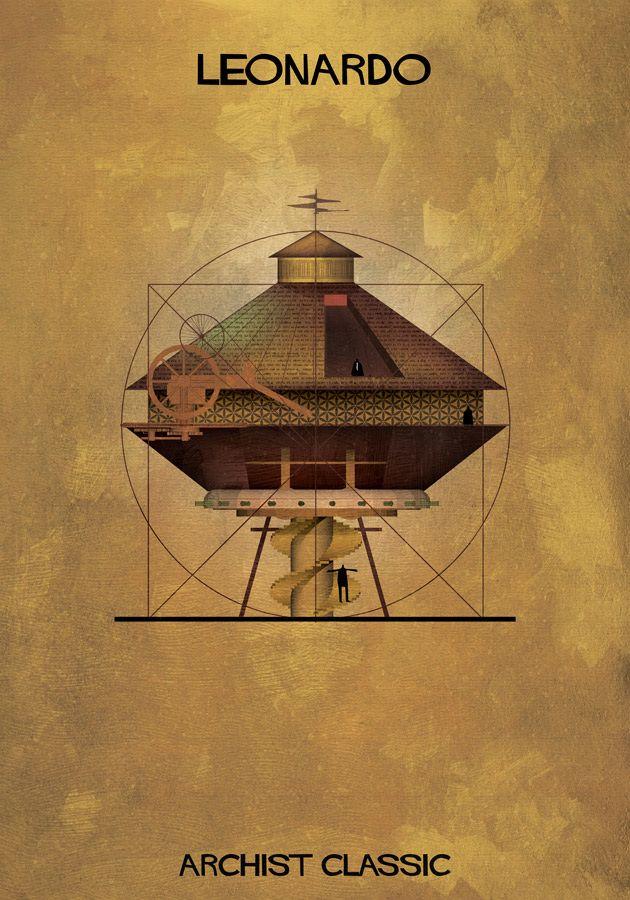 Architekturillustrationen, die die Stile von Malermeistern darstellen  Federico Babina, ARCHIST CLASSIC, ist eine Illustrationsserie von Bauzeichnungen im Stil von Riesenmalern der Kunstgeschichte.