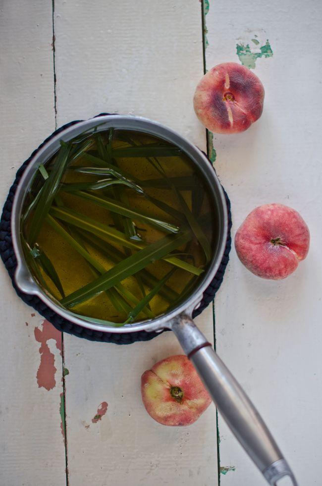 Ingredientes: (1 litro) 4 folhas de lemongrass 2 pêssegos paraguaios 1 litro de água 2 colheres de xarope de beterraba ou mel  Fazer a infusão com as folhas de lemongrass e 500ml de água a ferver, deixar arrefecer por completo e se tiver tempo, coloque a infusão no frigorífico para arrefecer mais rapidamente.