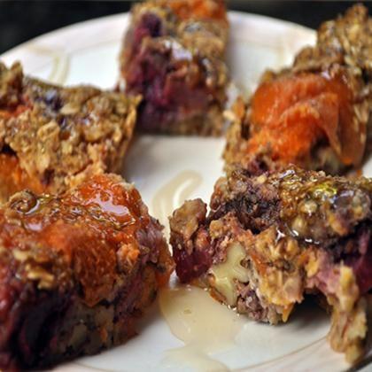 Apricot Berry Bars- apricots, berries, oars cornmeal, applesauce, almond milk, flaxseed, baking powder, salt, agave (or honey), nuts: Apricot Berry, Dessert Recipes, Shape Magazine, Vegan Desserts, Berry Bars, Bar Recipes, Bars Recipe