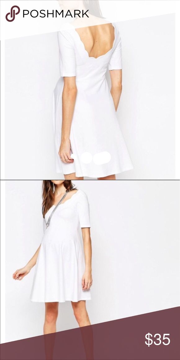 Scallop white Maternity dress White maternity dress with pretty scallop details at the neckline. Size 6. Worn once. My bump was a bit large this last round. ASOS Maternity Dresses Midi