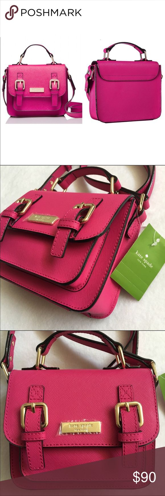 """Authentic Kate Spade scout bag NWT! ♠️ NWT! Beautiful scout bag by Kate Spade ♠️ in sweetheart pink with gold hardware! Absolutely darling! Measurements are: 6 1/4"""" x 4 3/4"""" x 1 1/2""""w with adjustable strap that drops to approximately 17"""". No trades. Please no low offers. kate spade Bags Crossbody Bags"""
