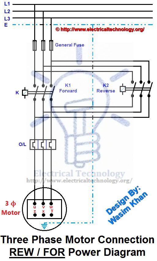 rev / for three-phase motor connection power and control diagrams |  electrical technology | power wire, electrical circuit diagram, electrical  projects