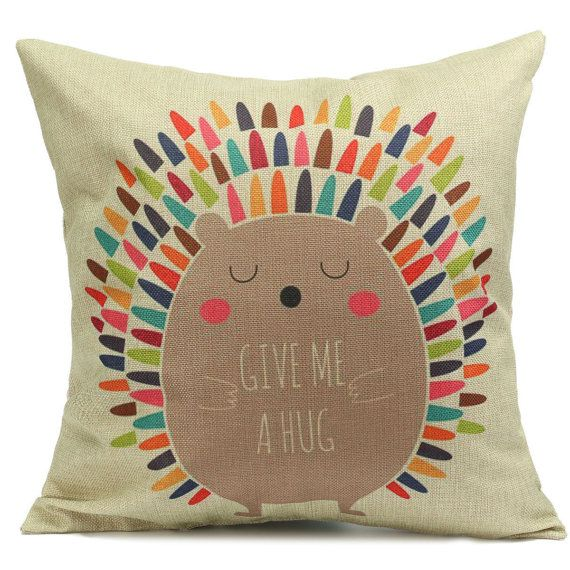 Hedgehog Children Cushion Cover Give me a by EclecticElementsDeco