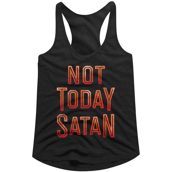 American Classics Black & Red 'Not Today Satan' Racerback Tank ($9.99) ❤ liked on Polyvore featuring tops, plus size, plus size tops, plus size tanks, red racerback tank top, america tank top and plus size graphic tank tops