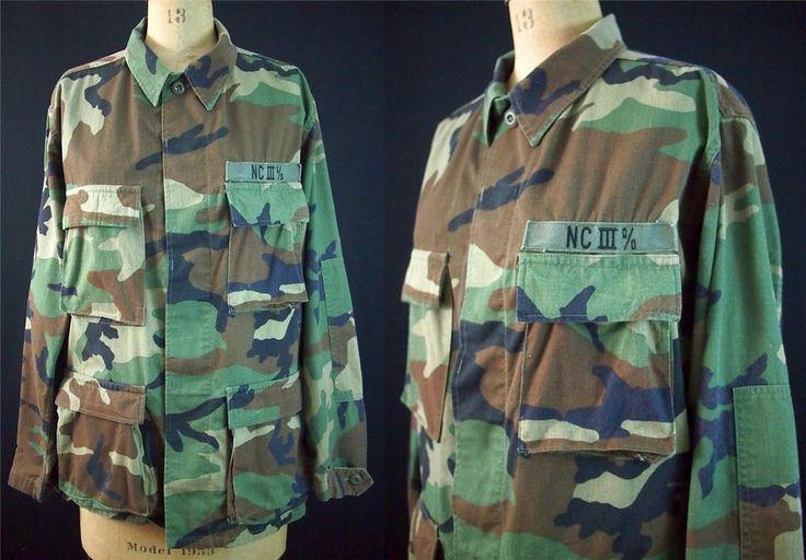 Oversized Boyfriend Camo Grunge Punk Combat Army Field Jacket NC III % Patch M/L
