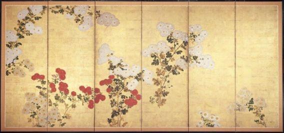 Chrysanthemums Kiku zu byobu 菊図屏風 Japanese, Edo period, 17th–18th century Style…