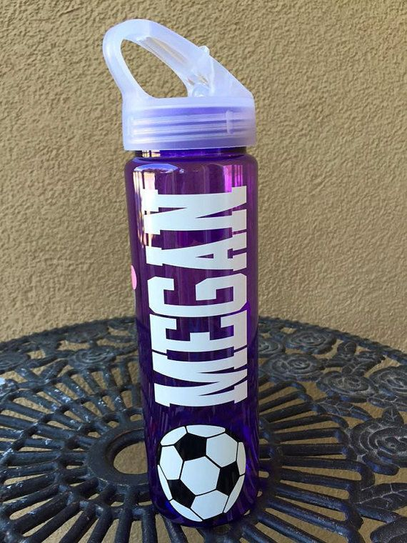 Personalized Soccer Water Bottles- Polka dotted water bottles, water bottles with name, Sports bottle with flip lid, girl water bottles,