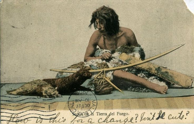 """Indian of Tierra del Fuego."" 1906. Peleteria ""El Zorro."" Public domain."