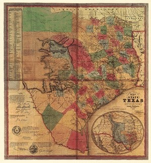 Historic map of Texas 1847