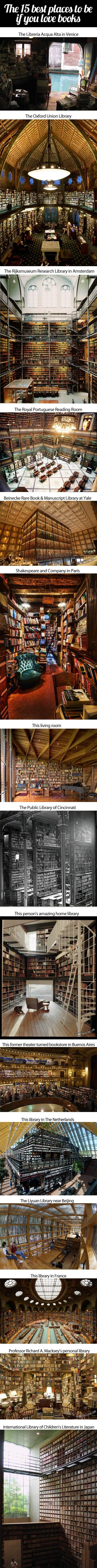 The 15 best places to be if you love #books Repinned by http://scatterbooker.wordpress.com/