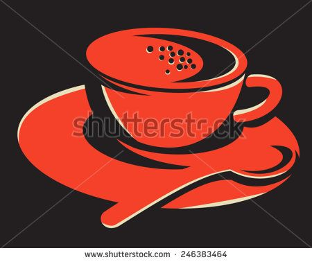 vector illustration of a coffee cup with bubbles and teaspoon spoon done in retro style on black background. - stock vector #coffee #retro #illustration