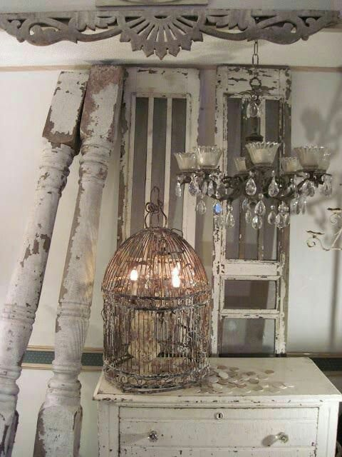 Shabby Chic. Love the chandelier, Bird Cage and candle light mix! Great Decorating Ideas for Shabby Chic, Farmhouse, Cottage, French Country and Country Decor!
