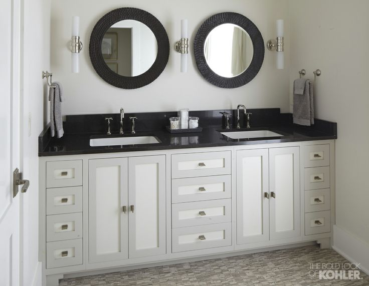 white country bathroom with black accents