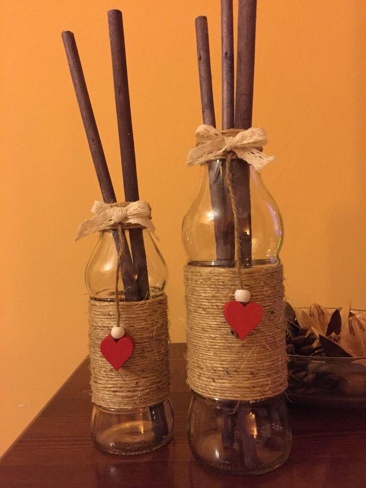 Riciclo vasetti di vetro:per vaso fiori secchi o fiori freschi recisi