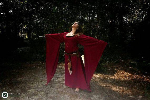Medieval dress red priestess Game of Thrones dress, cosplay costume, wedding dress, bridesmaids dress, handfasting, celtic wedding, handmade
