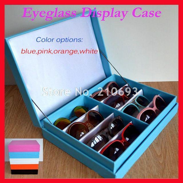 8F 5 Colors Luxurious Leather Eyeglass Eyewear  Sunglasses Display Case Storage box Tray  Hold 8pcs of glasses