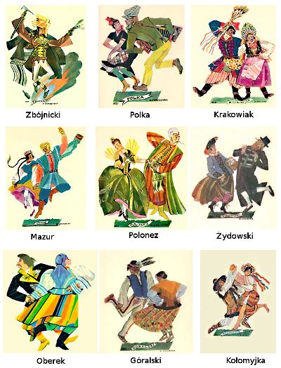 Tradicional polish dances: The National Dances of Poland are The Polonaise, Kujawiak, Mazur, Oberek, and Krakowiak. We have a video example and description of each of these Polish folk dances.