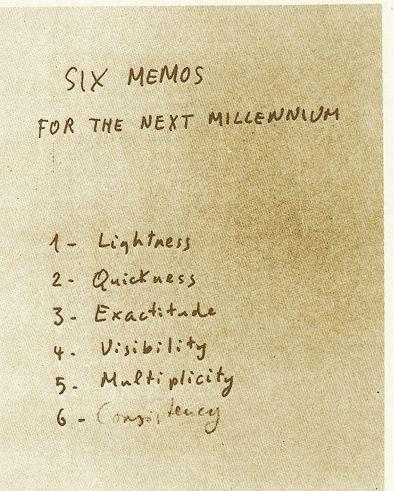 """Le """"sei proposte per il prossimo millennio"""" delle Lezioni americane."""