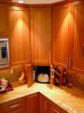 """I love the """"hidden"""" cabinet that hides the toaster...but I envision hiding my Keurig in there instead..."""