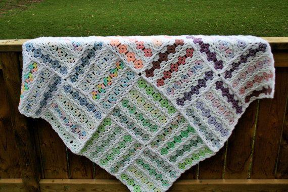 Pink Purple Green & Blue Baby/Lap Blanket by BlueJewelsCreations, $175.00