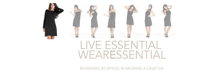 L'abito passe-partout nel guardaroba di ogni donna #essential. Un solo abito, tante proposte di stile tutto made in Italy. L'abito è inserito in un elegante pochette multiuso dello stesso tessuto. Ideale da mettere in valigia per viaggi di lavoro o in vacanza. #WearEssential #7in1 #Moda