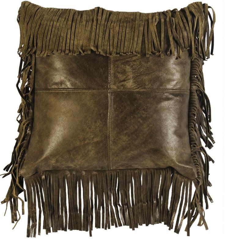 Decorative Pillows With Fringe Part - 30: Moss Leather U0026 Fringe
