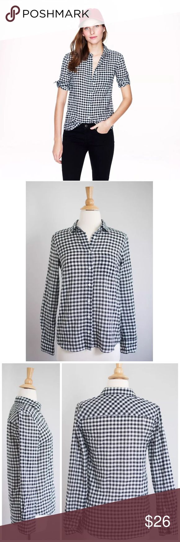 J.Crew Crinkle Boy Shirt in Black Check Excellent, pre-owned condition. No flaws! Size: 0. Color: White / Black Check. Retail price: $89.50. Can provide measurements if requested. Thanks for your interest!  Details: Soft, slightly rumpled and tailored just for you (so it's even better than his). •72% cotton, 27% modal, 1% spandex •Button placket •Long roll-up sleeves •Functional buttons at cuffs •Shaping seams at the bust •Chest pocket •Machine wash J. Crew Tops Button…