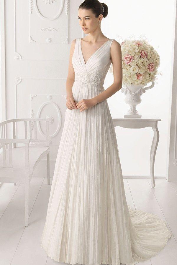 Elegant V Neck Tulle A-line Wedding Dress With Crystals straps JSWD0250
