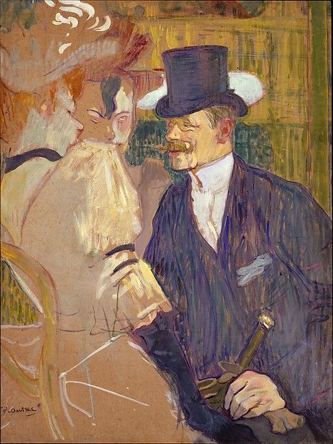 Toulouse Lautrec The Englishman (William Tom Warrener, 1861–1934) at the Moulin Rouge   The Englishman (William Tom Warrener, 1861–1934) at the Moulin Rouge Artist: Henri de Toulouse-Lautrec (French, Albi 1864–1901 Saint-André-du-Bois) Date: 1892 Medium: Oil on cardboard Dimensions: 33 3/4 x 26 in. (85.7 x 66 cm) Classification: Paintings
