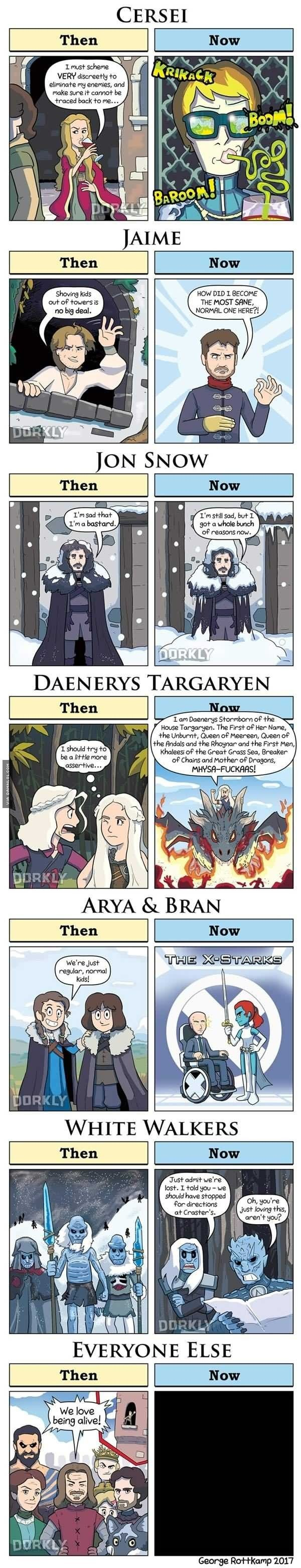 Yass Bran has become Xavier n Arya has became raven. Such good reference