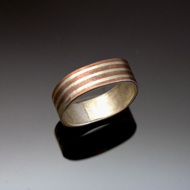 Striped Mokume Silver Ring - Rounded Square - Silver Copper Fusion - Mixed Metal Ring - Wide Band - Commitment Ring - Handmade in BC Canada by Fullmoonjoolz on Etsy