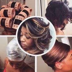 128 best roller set images on pinterest hair hairstyle and straighten flat iron no blow drying hooded dryer used silk wrap roller set on freshly washed natural hair urmus Gallery