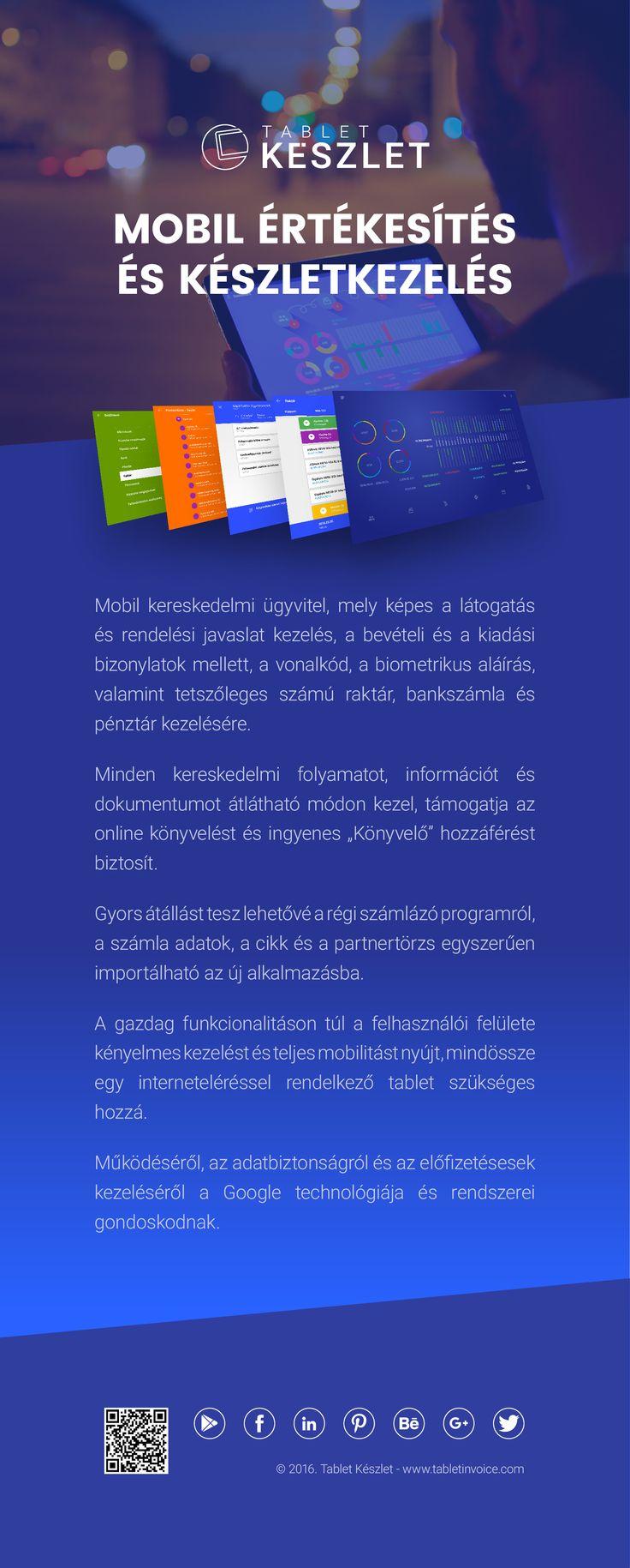 """Mobil kereskedelmi ügyvitel, mely képes a látogatás és rendelési javaslat kezelés, a bevételi és a kiadási bizonylatok mellett, a vonalkód, a biometrikus aláírás, valamint tetszőleges számú raktár, bankszámla és pénztár kezelésére. Minden kereskedelmi folyamatot, információt és dokumentumot átlátható módon kezel, támogatja az online könyvelést és ingyenes """"Könyvelő"""" hozzáférést biztosít.   https://play.google.com/store/apps/details?id=com.tabletinvoice.stock&hl=hu"""