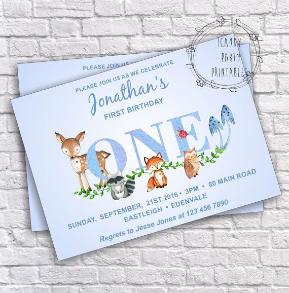 Woodland Boy Invitation, 1st birthday Invitation, Woodland, Editable, Forest animal, Woodland Diy Invitation,