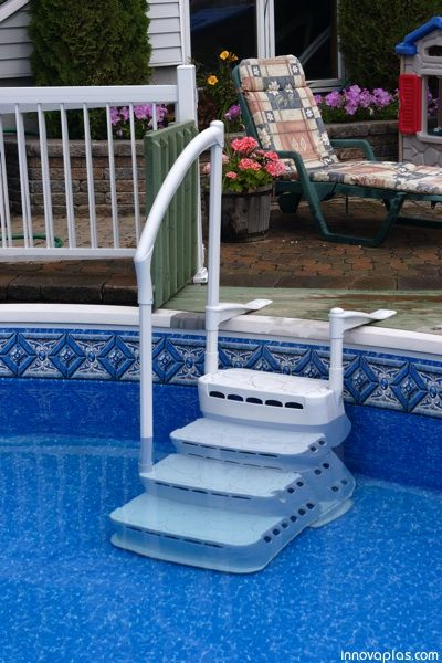 aquarius above ground pool step made of resin and includes 4 steps with one handrail comes in white available for purchase at pool supplies canada - Above Ground Pool Outside Steps