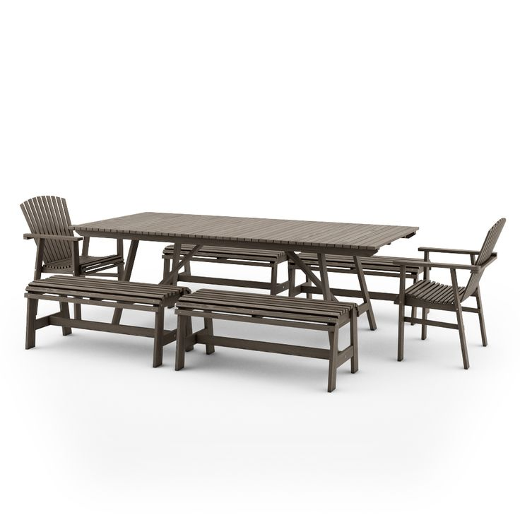 IKEA SUNDERO SET OF TABLE, TWO CHAIRS WITH ARMRESTS AND FOUR BENCHES WITH ARMRESTS, PINE, GREY