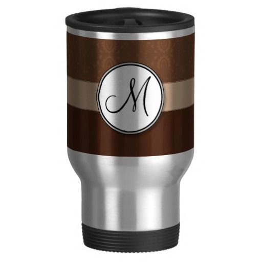 Leather #Brown #Damask with Stripes and #Monogram #Coffee Travel #Mugs