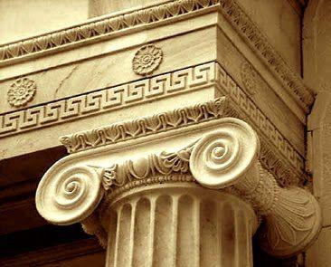 Ancient Greek Motifs: meander (key), rosettes, egg & dart, bead & reel, fluted ionic column   via Odi et Amo: It's Greek to Me...