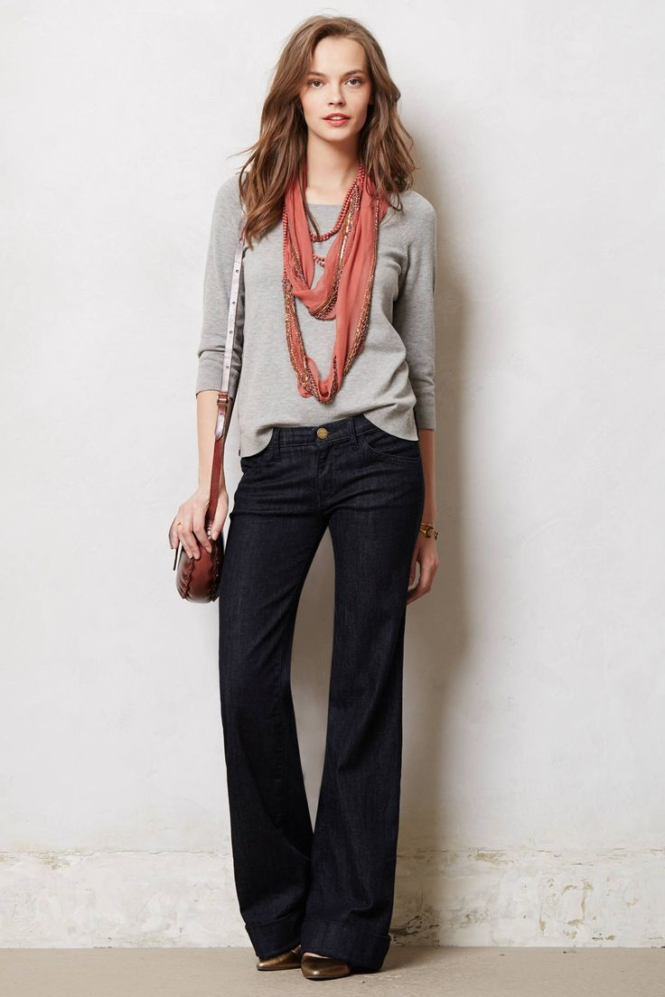 Dark wide leg jeans, slouchy tee, layered scarf/bead necklace, pointy metallic pumps, leather bag - I'd like to look this put together on jeans day.