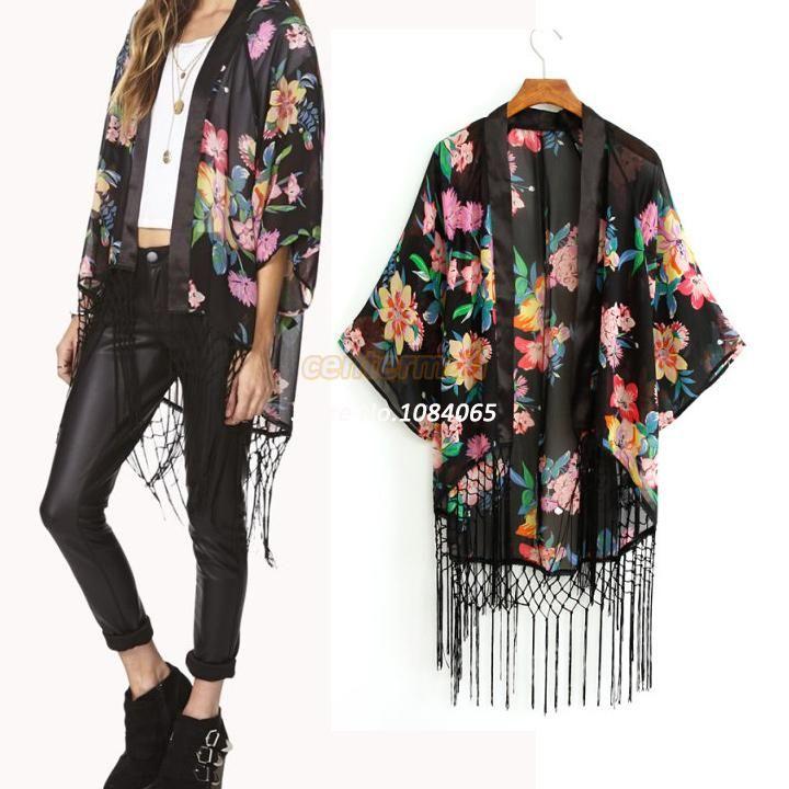 Drop Shipping Women Floral Print Blouse Elegant Tassel Chiffon Cardigan European Style Woman Kimono Coat Blouses #0012 SV002509